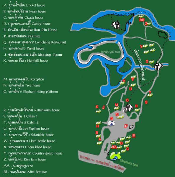 แผนที่ในบริเวณรีสอร์ท บ้านพักแต่ละหลังอยู่กระจายและส่วนตัว สัมผัสธรรมชาติทุกแบบบ้าน